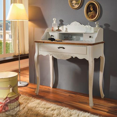 schminktisch paris in paulownia holz weiss vintage look landhaus ebay. Black Bedroom Furniture Sets. Home Design Ideas