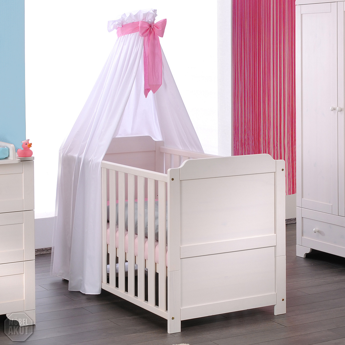 babybett vita kinderbett babyzimmer in kiefer massiv wei gewachst ebay. Black Bedroom Furniture Sets. Home Design Ideas