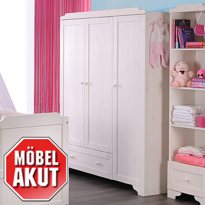 kleiderschrank vita 3 t rig kinderzimmer in kiefer massiv wei gewachst ebay. Black Bedroom Furniture Sets. Home Design Ideas