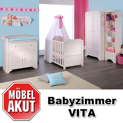 babyzimmer vita i kinderzimmer babyzimmer in kiefer massiv. Black Bedroom Furniture Sets. Home Design Ideas
