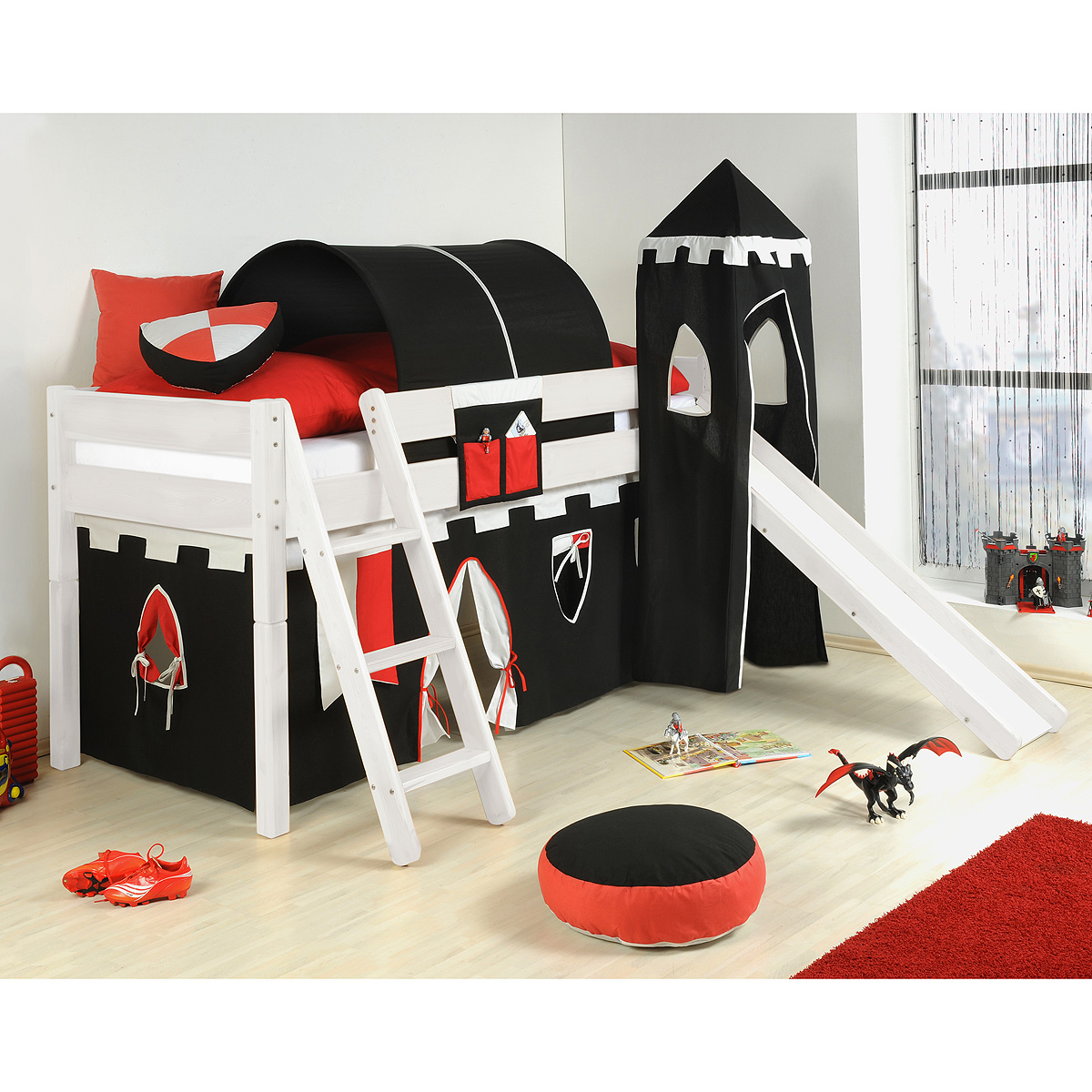 spielbett yes we can hochbett kiefer massiv wei mit ritterburg 90x200 ebay. Black Bedroom Furniture Sets. Home Design Ideas