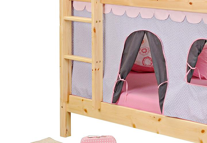 etagenbett yes we can hochbett kiefer massiv natur mit vorhang 90x200 ebay. Black Bedroom Furniture Sets. Home Design Ideas