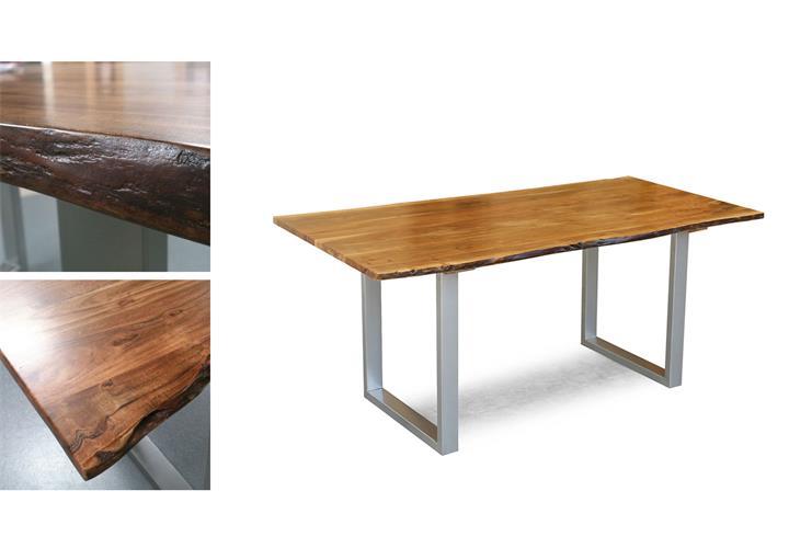 tisch agra massivholz esstisch 160x90 cm akazie baumkante gestell alufarbig eur 299 95. Black Bedroom Furniture Sets. Home Design Ideas