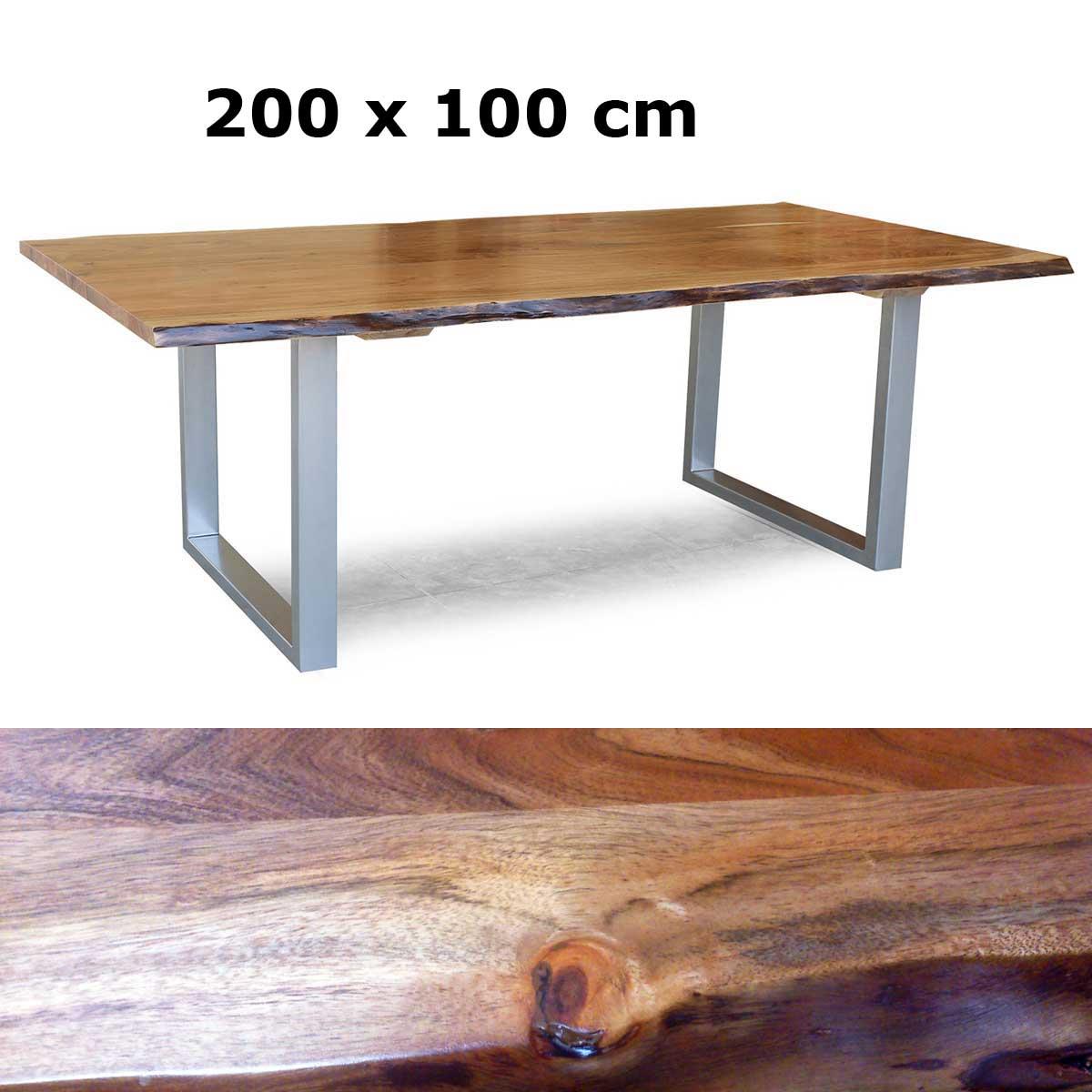 massivholz tisch kerala esstisch akazie sichtbare baumkante gestell alufarbig ebay. Black Bedroom Furniture Sets. Home Design Ideas