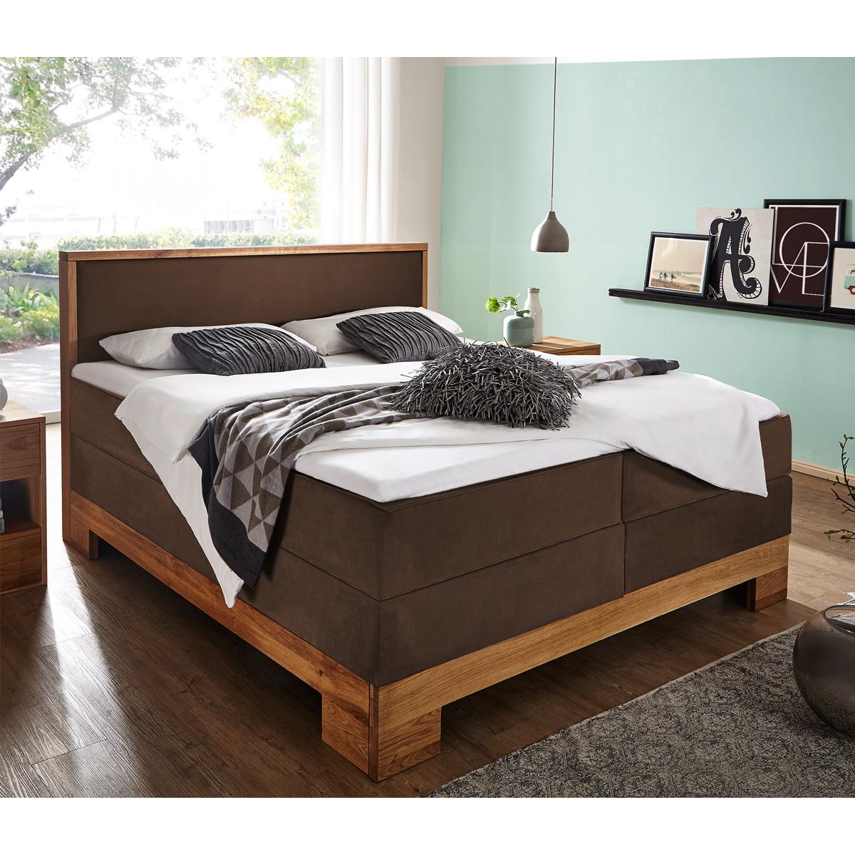 boxspringbett guana doppelbett in braun wildeiche massiv 7 zonen ttfk 180x200 cm eur. Black Bedroom Furniture Sets. Home Design Ideas