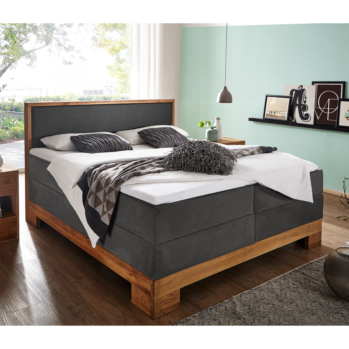boxspringbett guana doppelbett in grau wildeiche massiv 7. Black Bedroom Furniture Sets. Home Design Ideas