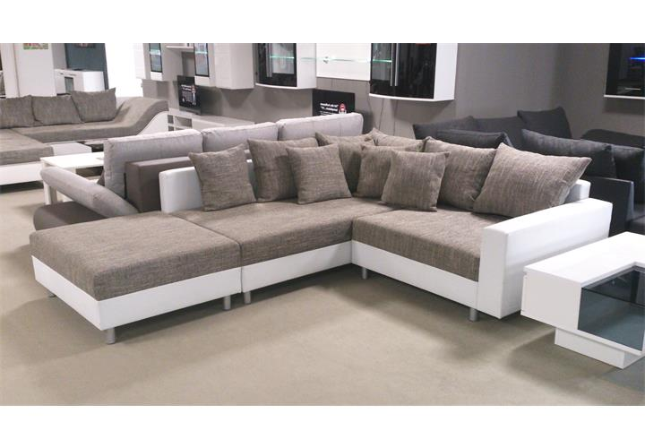 wohnlandschaft claudia ecksofa couch xxl sofa mit ottomane. Black Bedroom Furniture Sets. Home Design Ideas