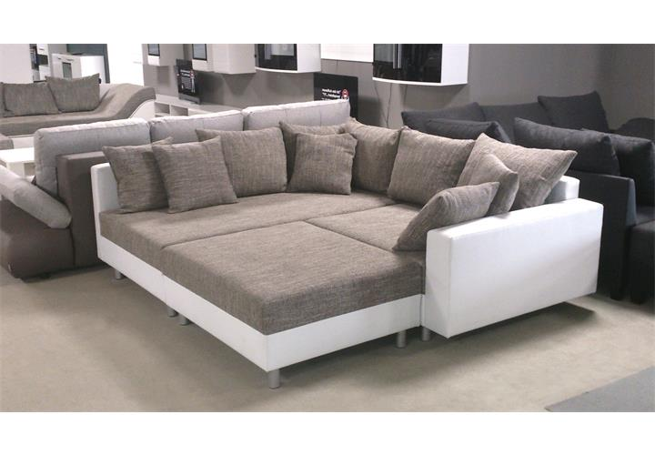 wohnlandschaft claudia ecksofa couch xxl sofa mit ottomane und hocker ebay. Black Bedroom Furniture Sets. Home Design Ideas