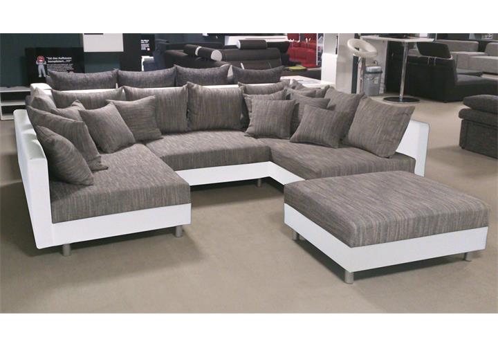 wohnlandschaft claudia ecksofa couch xxl sofa mit ottomane und hocker ebay. Black Bedroom Furniture Sets. Home Design Ideas