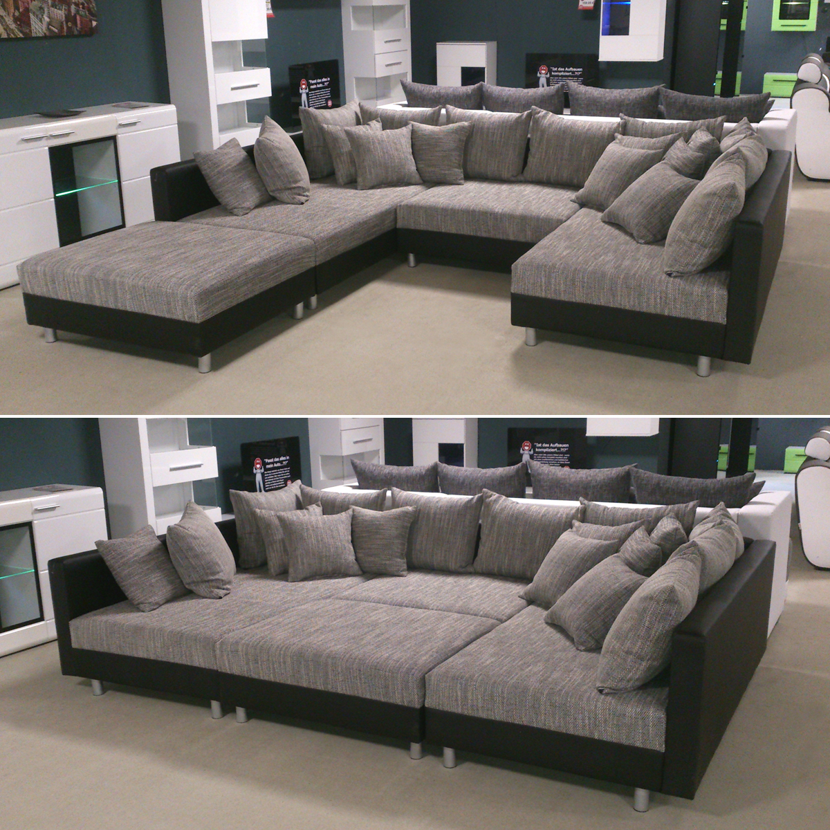 Xxl sofa u form design sectional sofa matera xxl with led lights grey black ebay xxl sectional Big sofa hocker