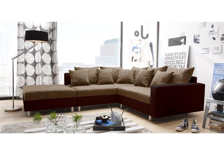ecksofa claudia wohnlandschaft ottomane links sofa mit hocker braun ebay. Black Bedroom Furniture Sets. Home Design Ideas