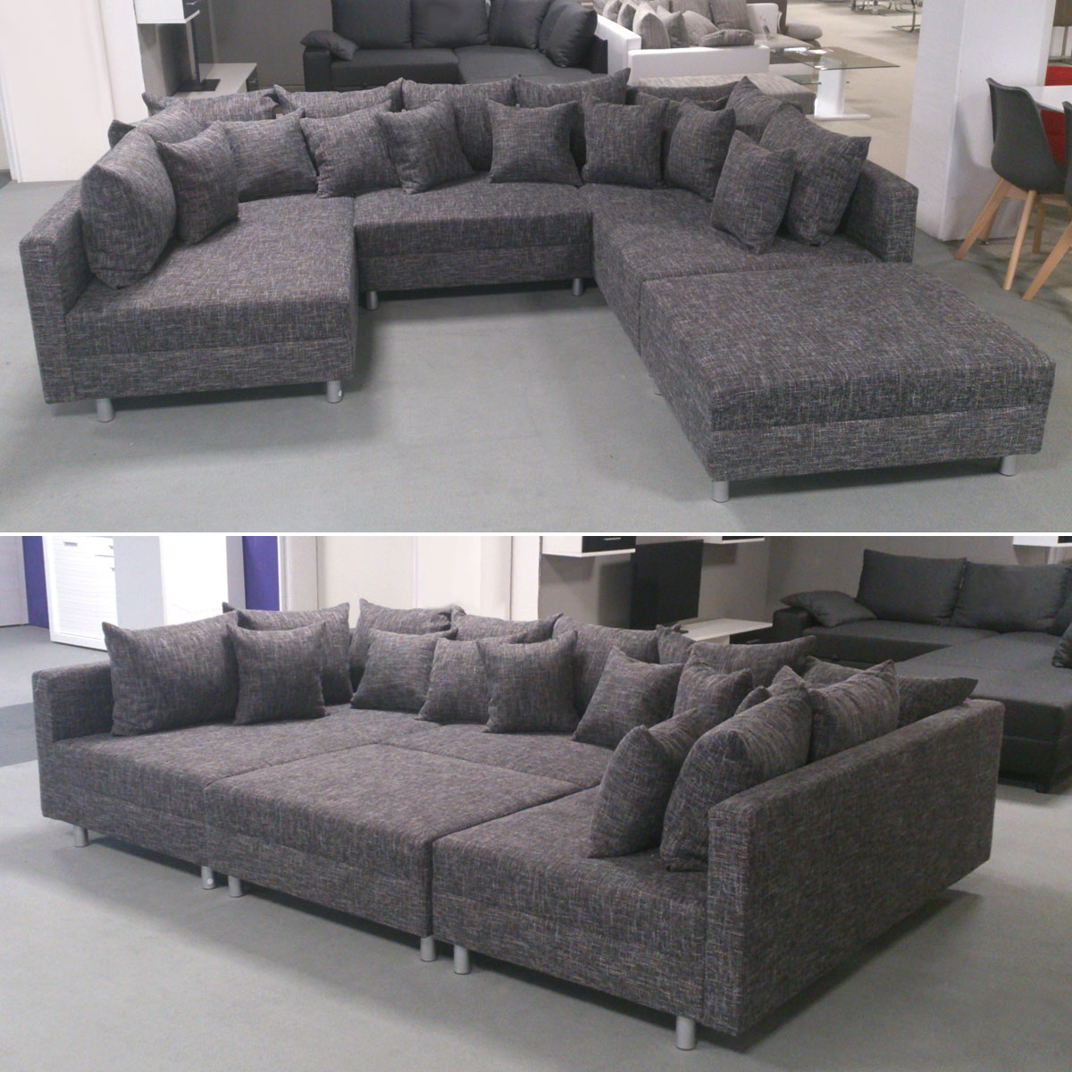 wohnlandschaft claudia xxl ecksofa couch sofa mit hocker webstoff lawa 17 ebay. Black Bedroom Furniture Sets. Home Design Ideas