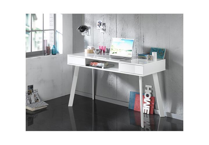 schminktisch 6235 kommode computertisch mit spiegel in wei hochglanz lack ebay. Black Bedroom Furniture Sets. Home Design Ideas