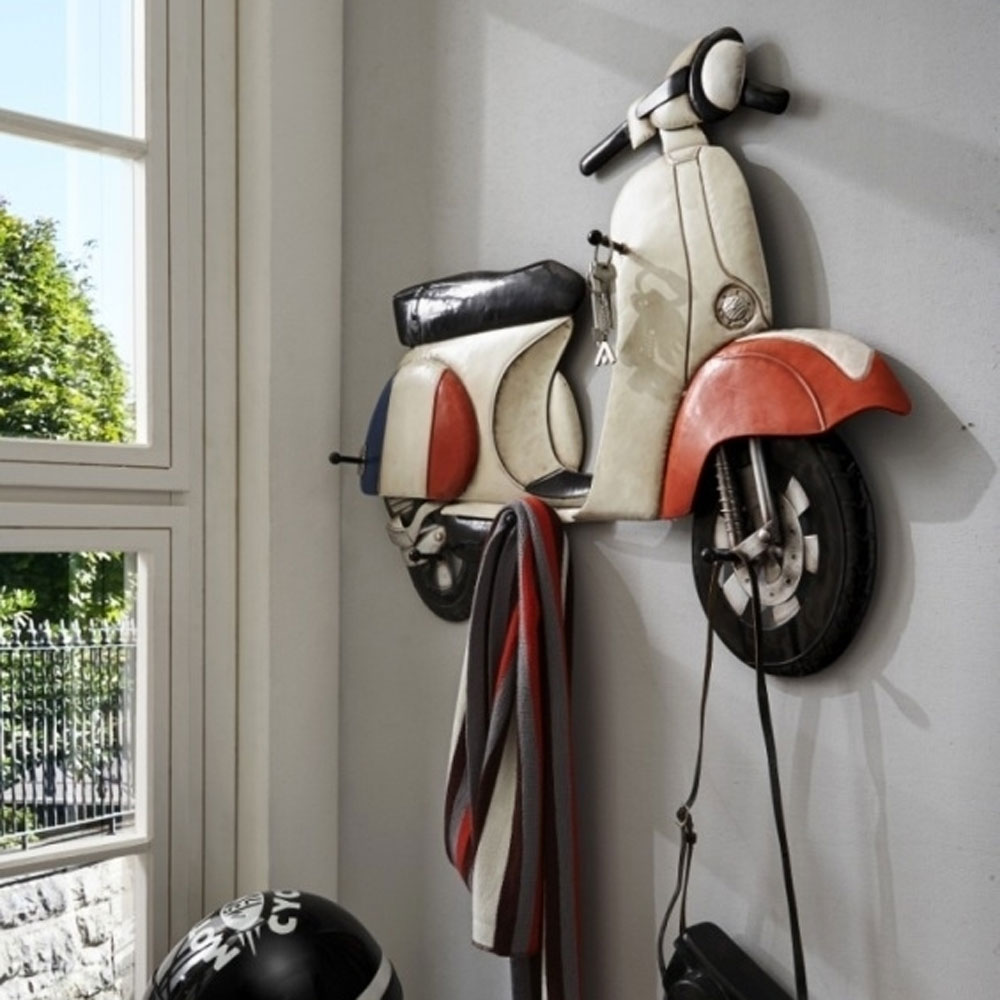 wandgarderobe metall vespa roller design mit 4 haken vintage garderobe ebay. Black Bedroom Furniture Sets. Home Design Ideas