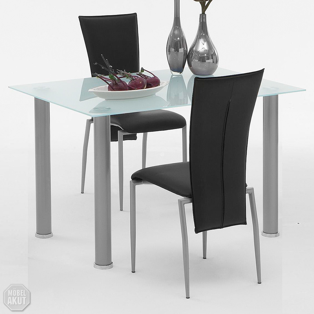 esstisch evia tisch mit milch glas alu b 120 cm ebay. Black Bedroom Furniture Sets. Home Design Ideas