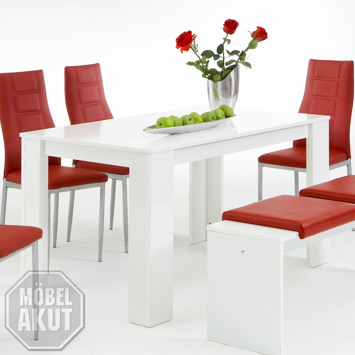 esstisch pago tisch in wei hochglanz b 140 cm ebay. Black Bedroom Furniture Sets. Home Design Ideas