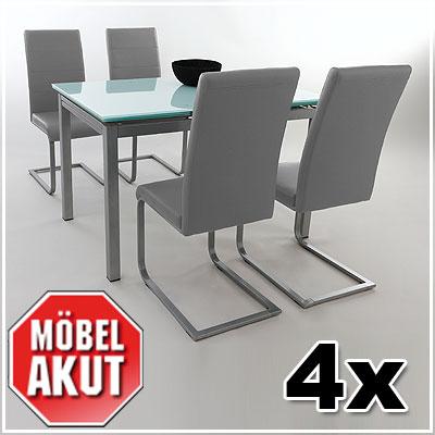 4er set schwingstuhl luna stuhl schwinger freischwinger in grau ebay. Black Bedroom Furniture Sets. Home Design Ideas