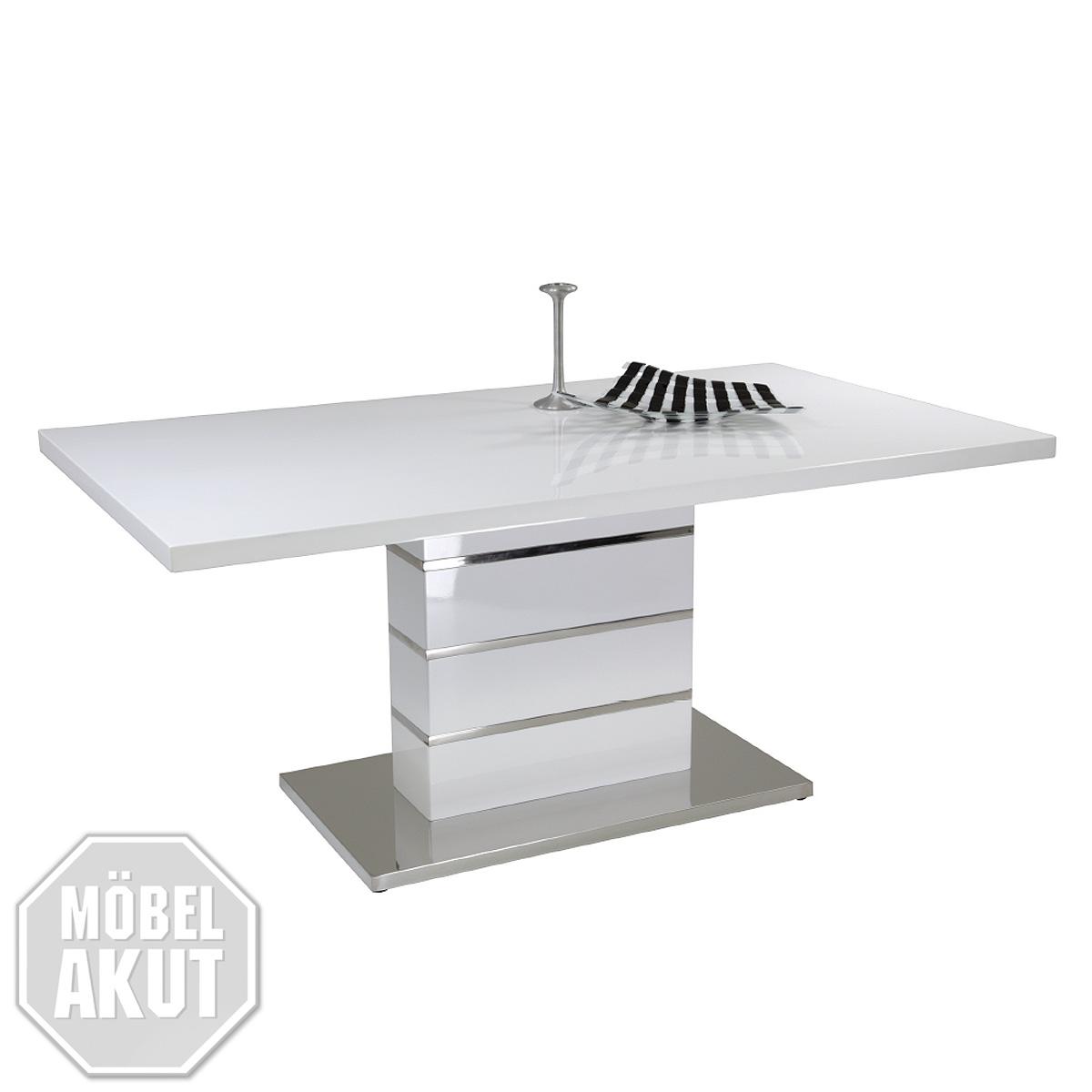 esstisch karolin ii tisch in wei hochglanz lack chrom. Black Bedroom Furniture Sets. Home Design Ideas