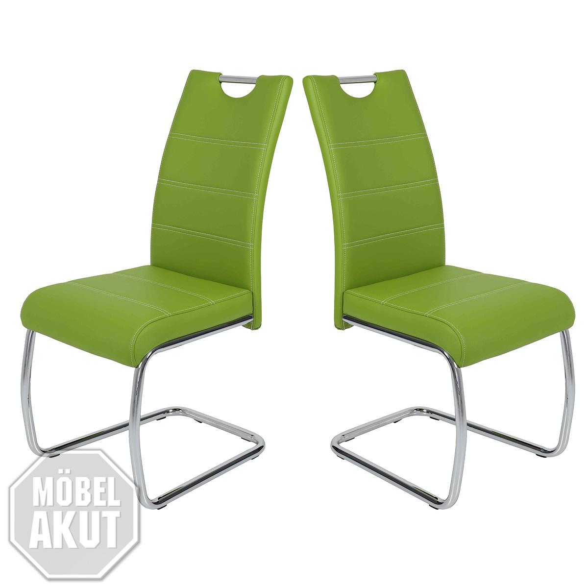 schwingstuhl flora 4er set stuhl esszimmerstuhl in gr n naht wei und chrom ebay. Black Bedroom Furniture Sets. Home Design Ideas
