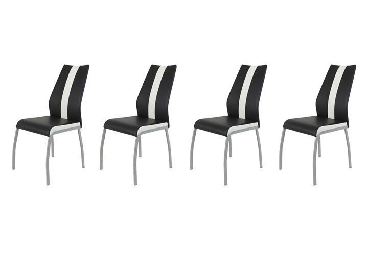 stuhl set trixi 4 esszimmer st hle lederlook schwarz wei oder cappucino ebay. Black Bedroom Furniture Sets. Home Design Ideas