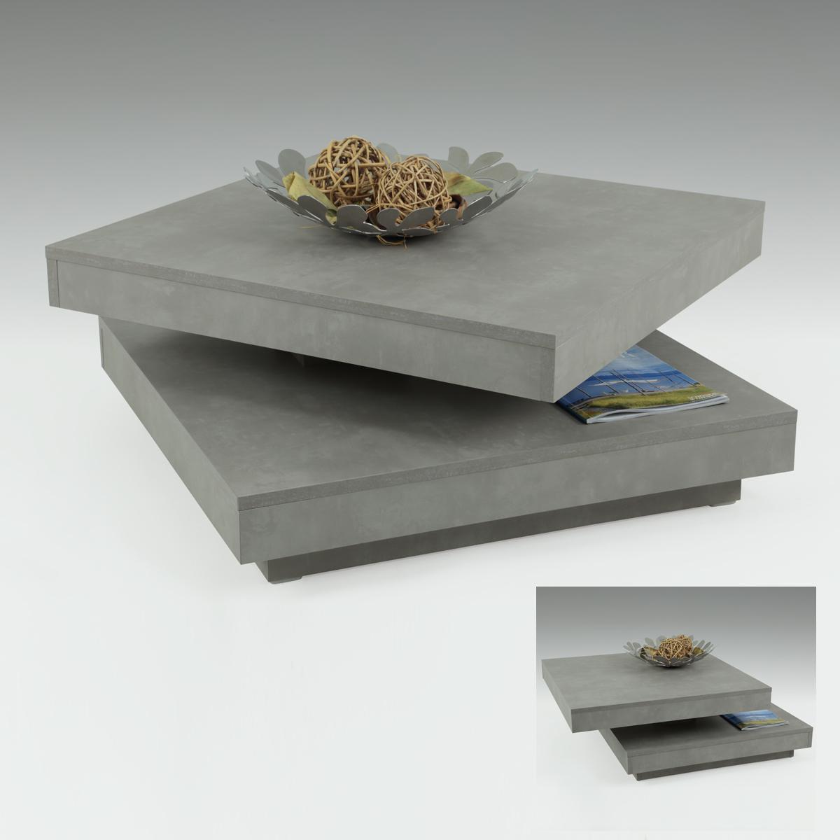 couchtisch ben in betonoptik tisch 360 drehbar beistelltisch wohnzimmertisch ebay. Black Bedroom Furniture Sets. Home Design Ideas