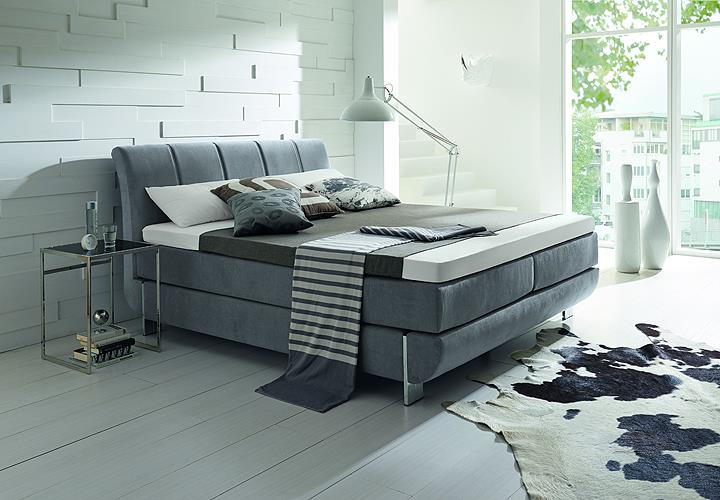 boxspringbett ronda bett hellgrau mit silvercare topper 7. Black Bedroom Furniture Sets. Home Design Ideas