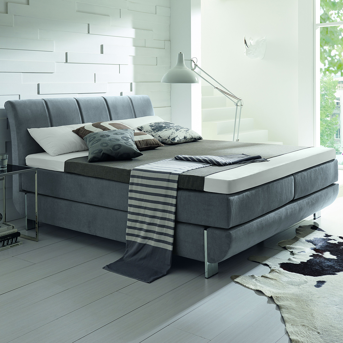 boxspringbett ronda bett hellgrau mit silvercare topper 7 zonen matratze 180x200 ebay. Black Bedroom Furniture Sets. Home Design Ideas
