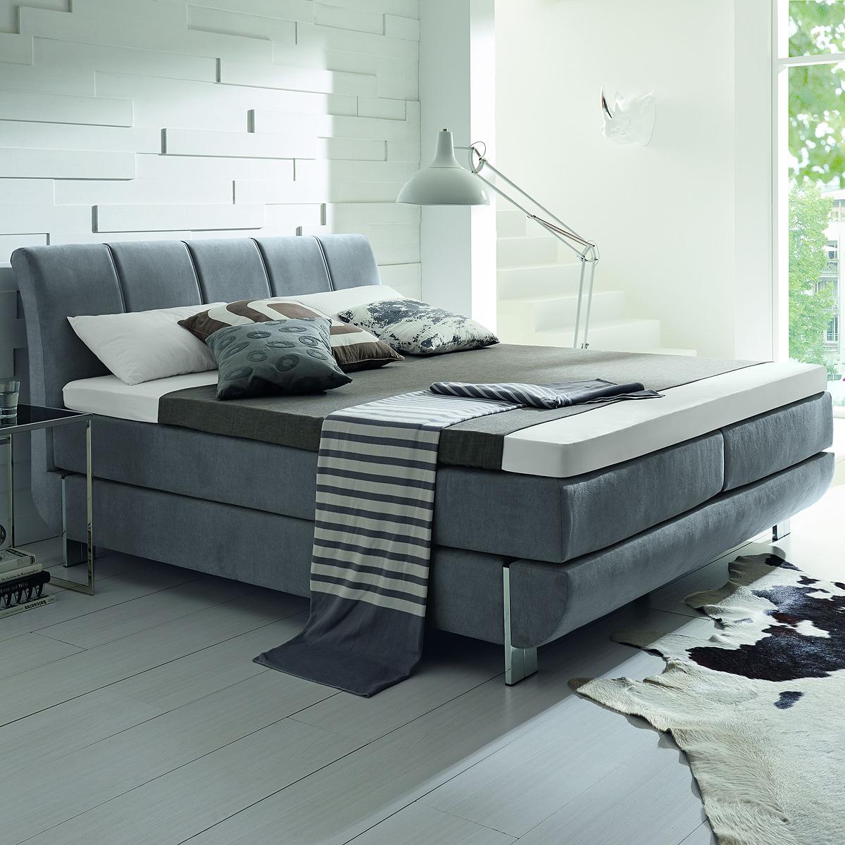 boxspringbett ronda bett in hellgrau mit bonnellfederkern. Black Bedroom Furniture Sets. Home Design Ideas