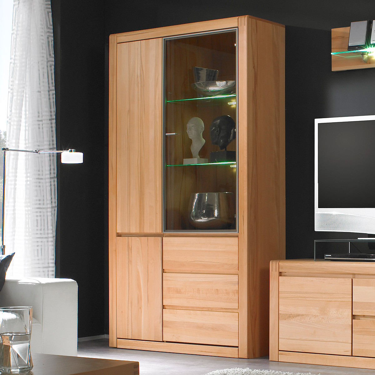 vitrine pontos glasvitrine wohnzimmerschrank schrank kernbuche teilmassiv 109 cm ebay. Black Bedroom Furniture Sets. Home Design Ideas