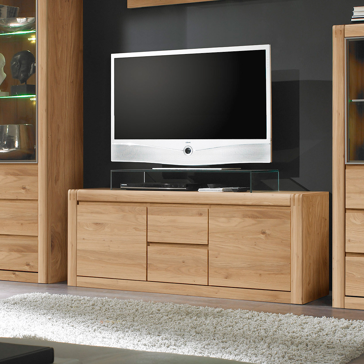 tv board pontos lowboard unterschrank fernsehschrank eiche bianco teilmassiv 147 eur 469 95. Black Bedroom Furniture Sets. Home Design Ideas