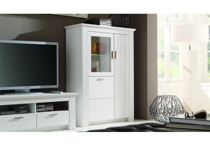 vitrine country highboard schrank landhaus in pinie wei teilmassiv ebay. Black Bedroom Furniture Sets. Home Design Ideas