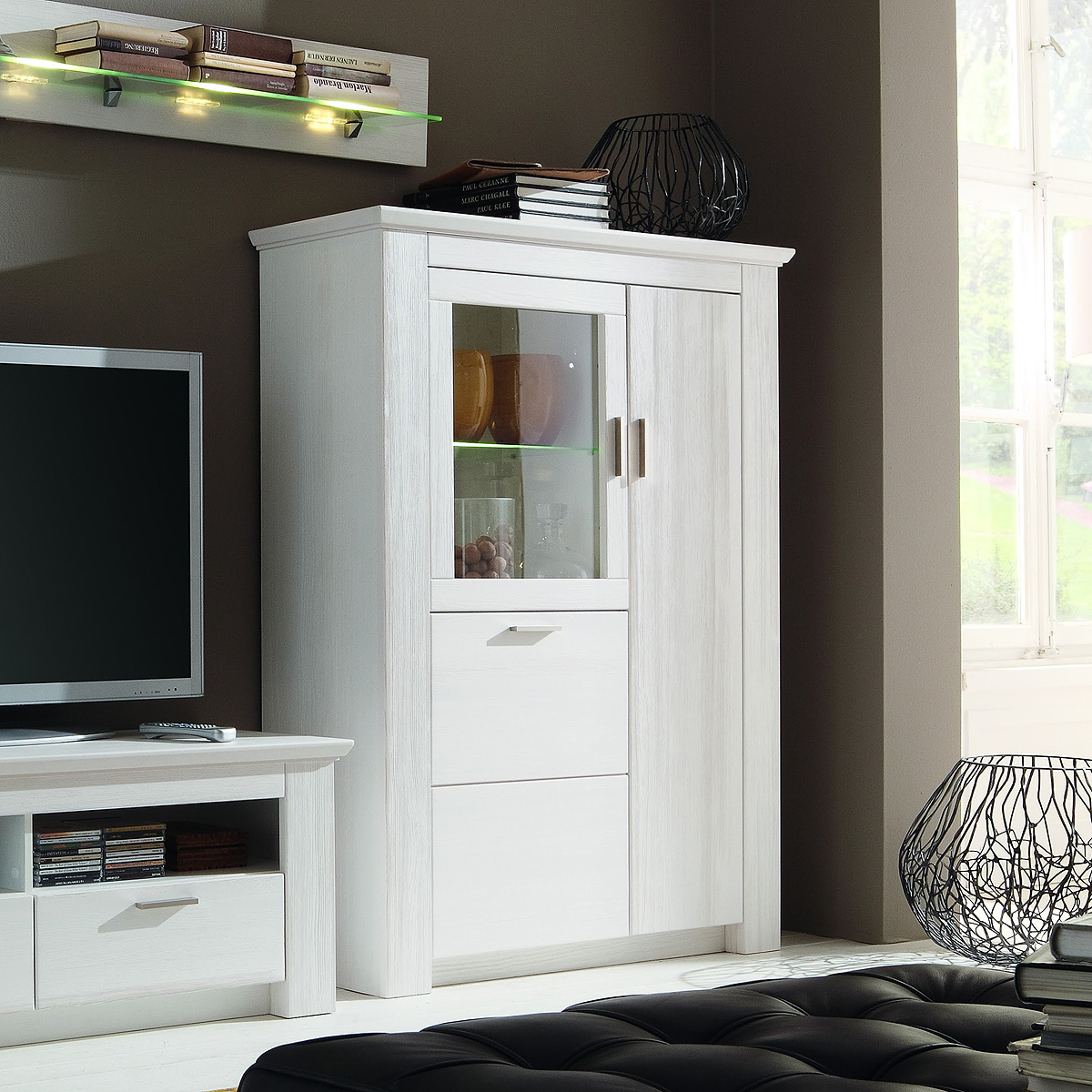 vitrine country highboard schrank landhaus in pinie wei teilmassiv ebay. Black Bedroom Furniture Sets. Home Design Ideas