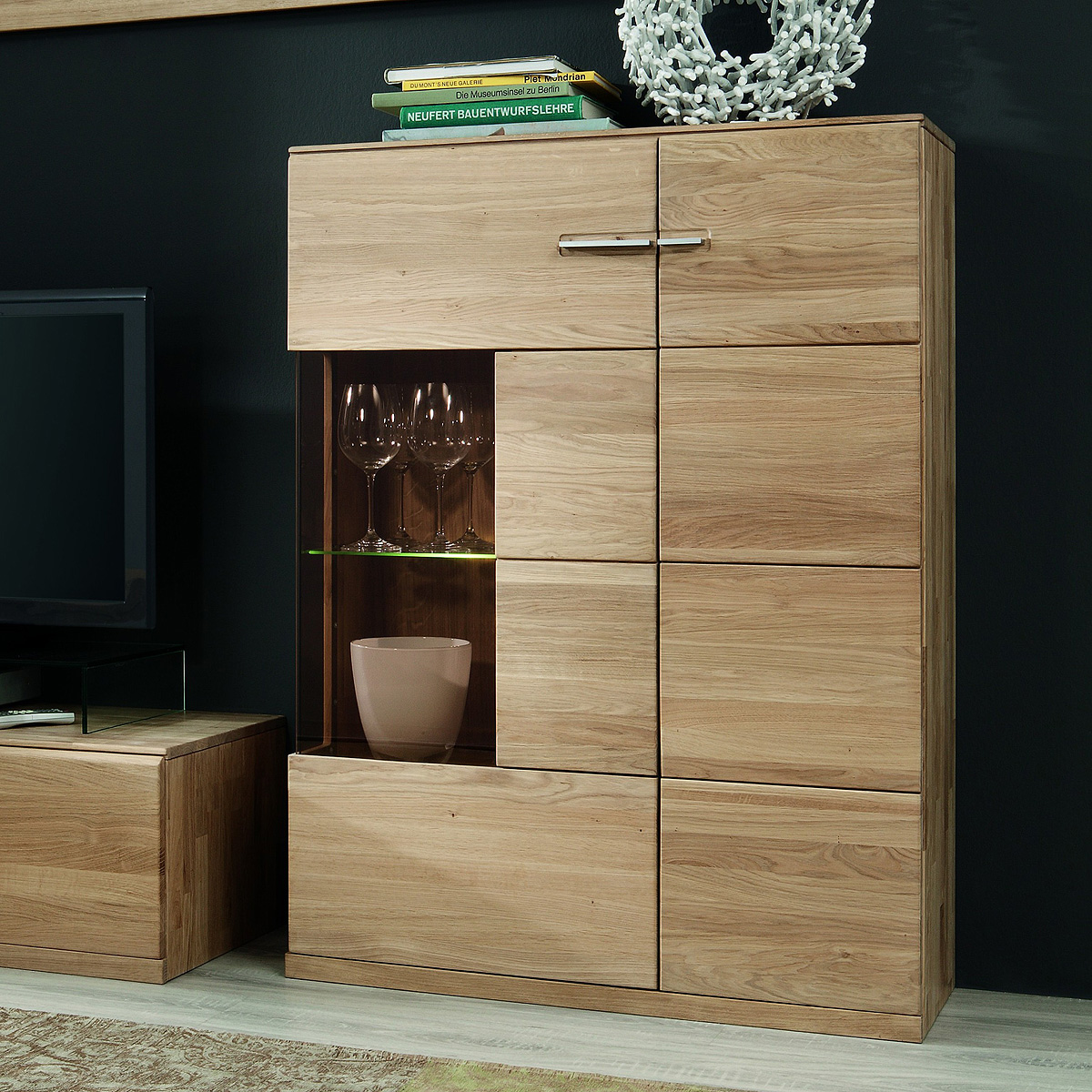 vitrine oregons highboard schrank in eiche bianco massiv ge lt gewachst ebay. Black Bedroom Furniture Sets. Home Design Ideas