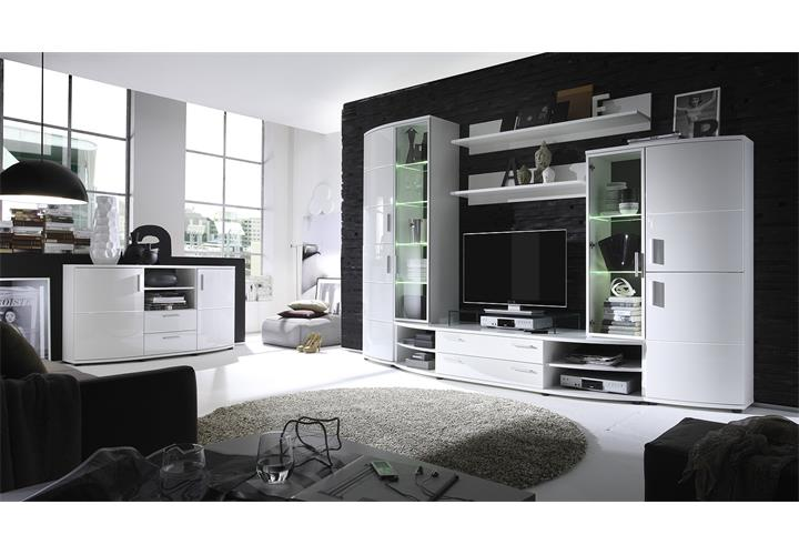 wohnwand snow anbauwand wohnzimmer wohnkombi wei hochglanz tiefzieh und schwarz eur 918 95. Black Bedroom Furniture Sets. Home Design Ideas