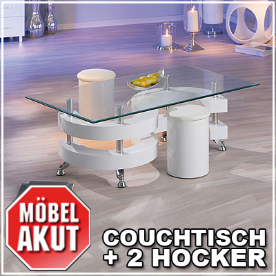 couchtisch just beistelltisch mit hocker in wei glas. Black Bedroom Furniture Sets. Home Design Ideas