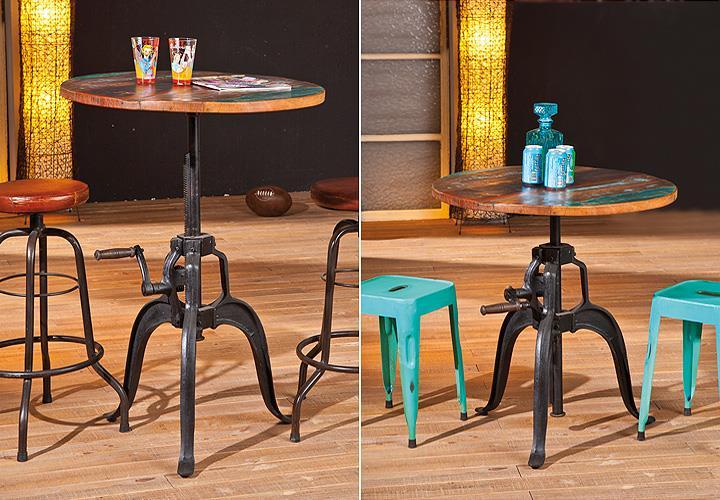 tisch fundos bistrotisch esstisch in mango massiv mehrfarbig h henverstellbar ebay. Black Bedroom Furniture Sets. Home Design Ideas
