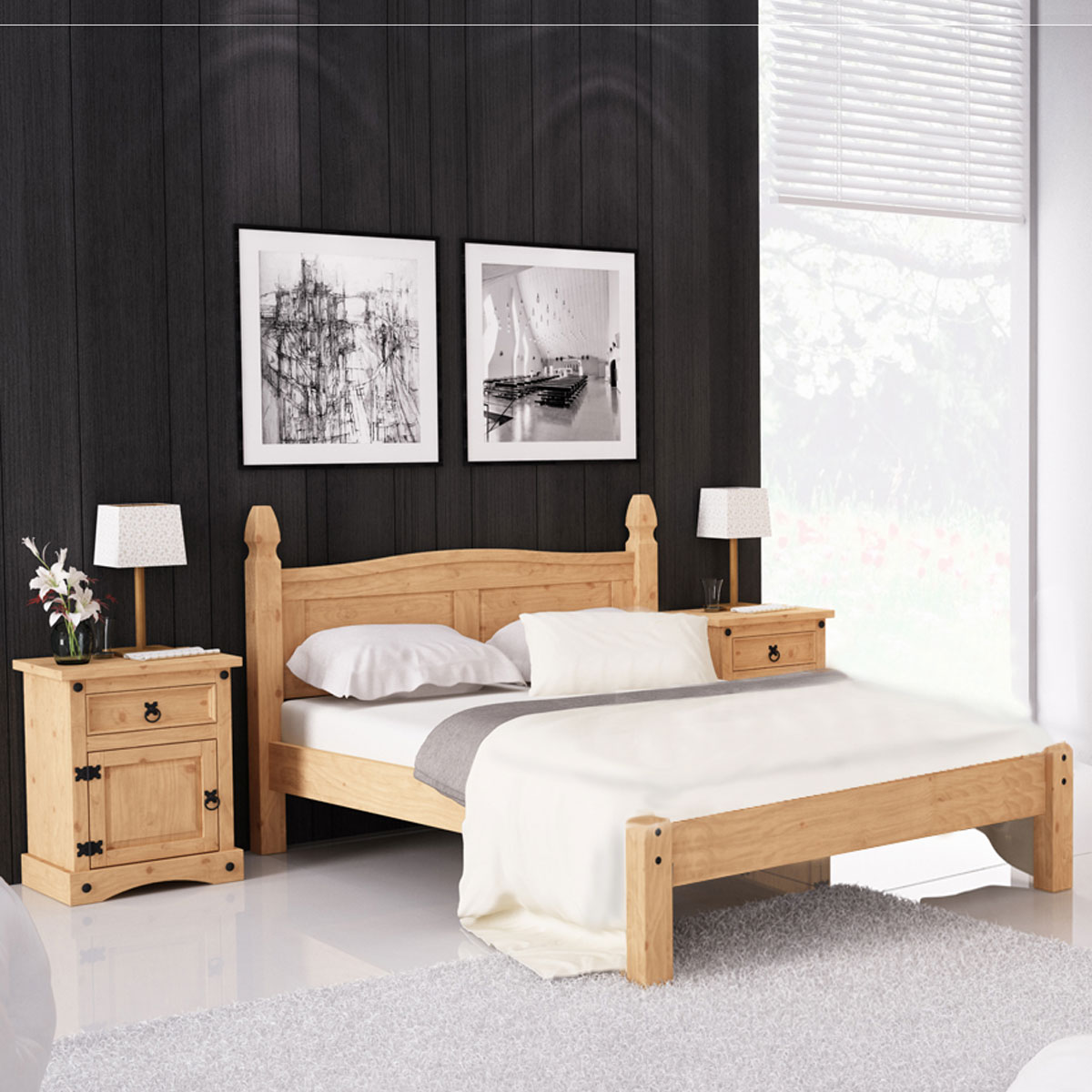 bettanlage corona schlafzimmer bett nachttisch pinie. Black Bedroom Furniture Sets. Home Design Ideas