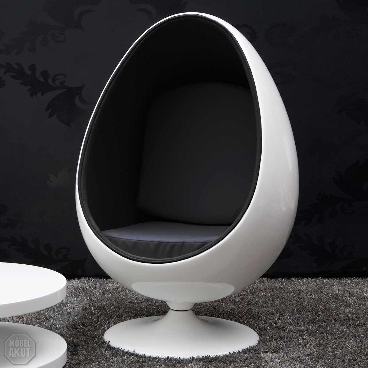 lounge sessel space egg sitzei weiss retro polster schwarz neu ebay. Black Bedroom Furniture Sets. Home Design Ideas