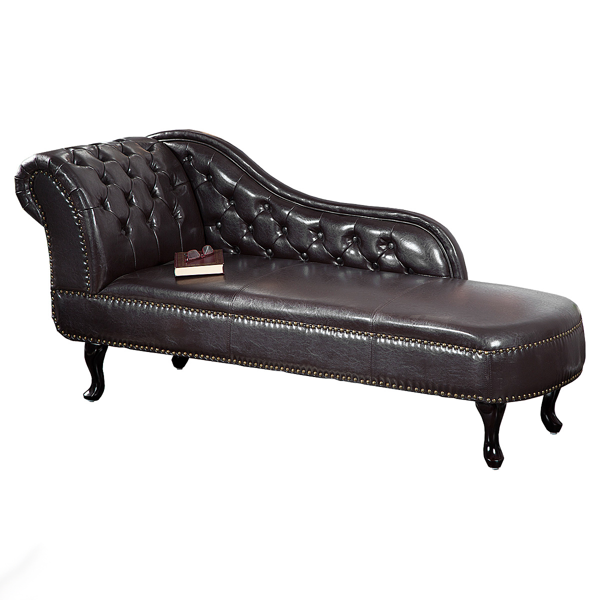 recamiere chesterfield chaiselongue sofa lederlook dark coffee dunkel braun ebay. Black Bedroom Furniture Sets. Home Design Ideas