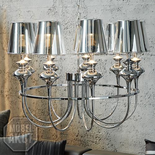 kronleuchter mancini silber chrom designer h ngelampe mit 9 transparenten lampen ebay. Black Bedroom Furniture Sets. Home Design Ideas