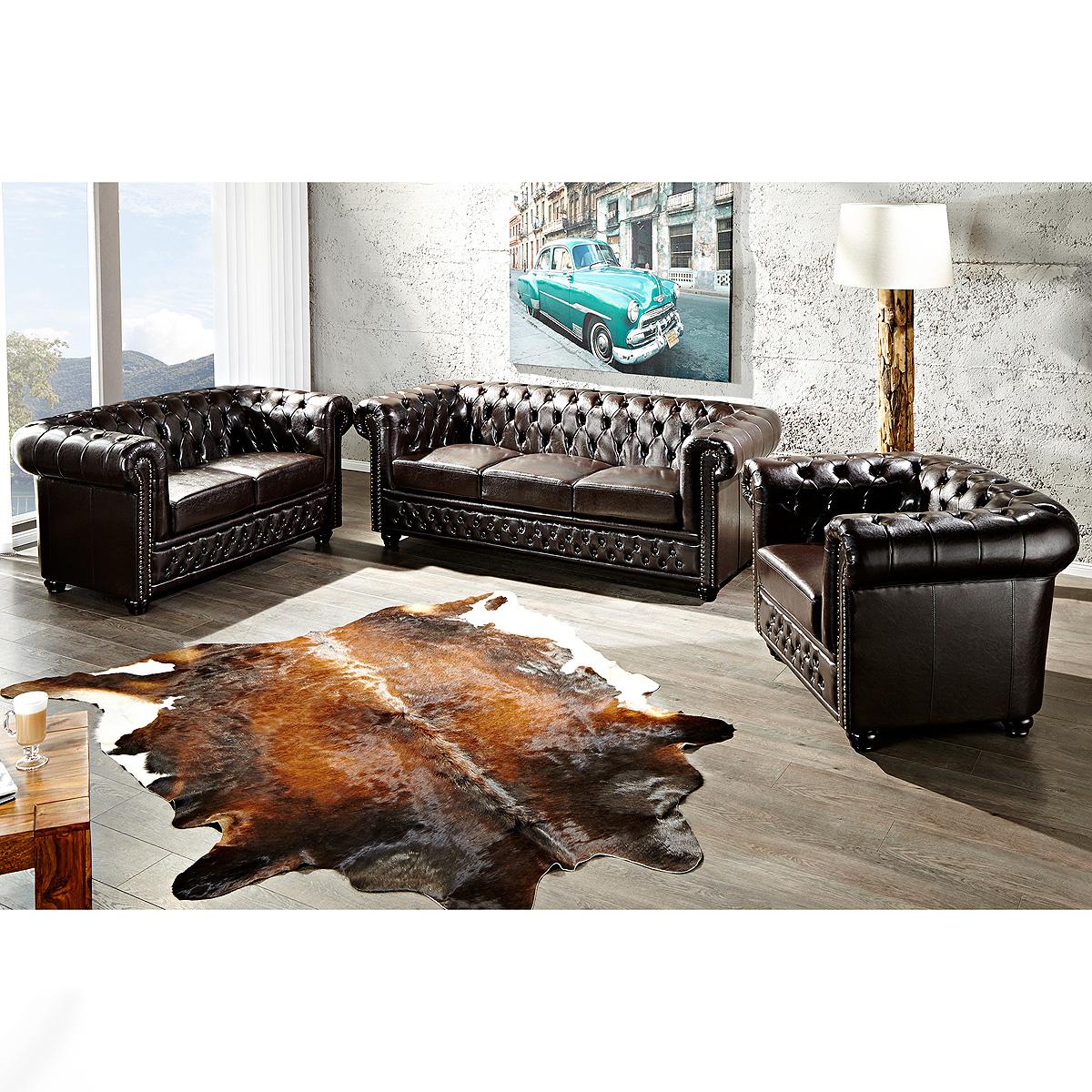 garnitur chesterfield sofa sessel lederlook dark coffee dunkel braun ebay. Black Bedroom Furniture Sets. Home Design Ideas