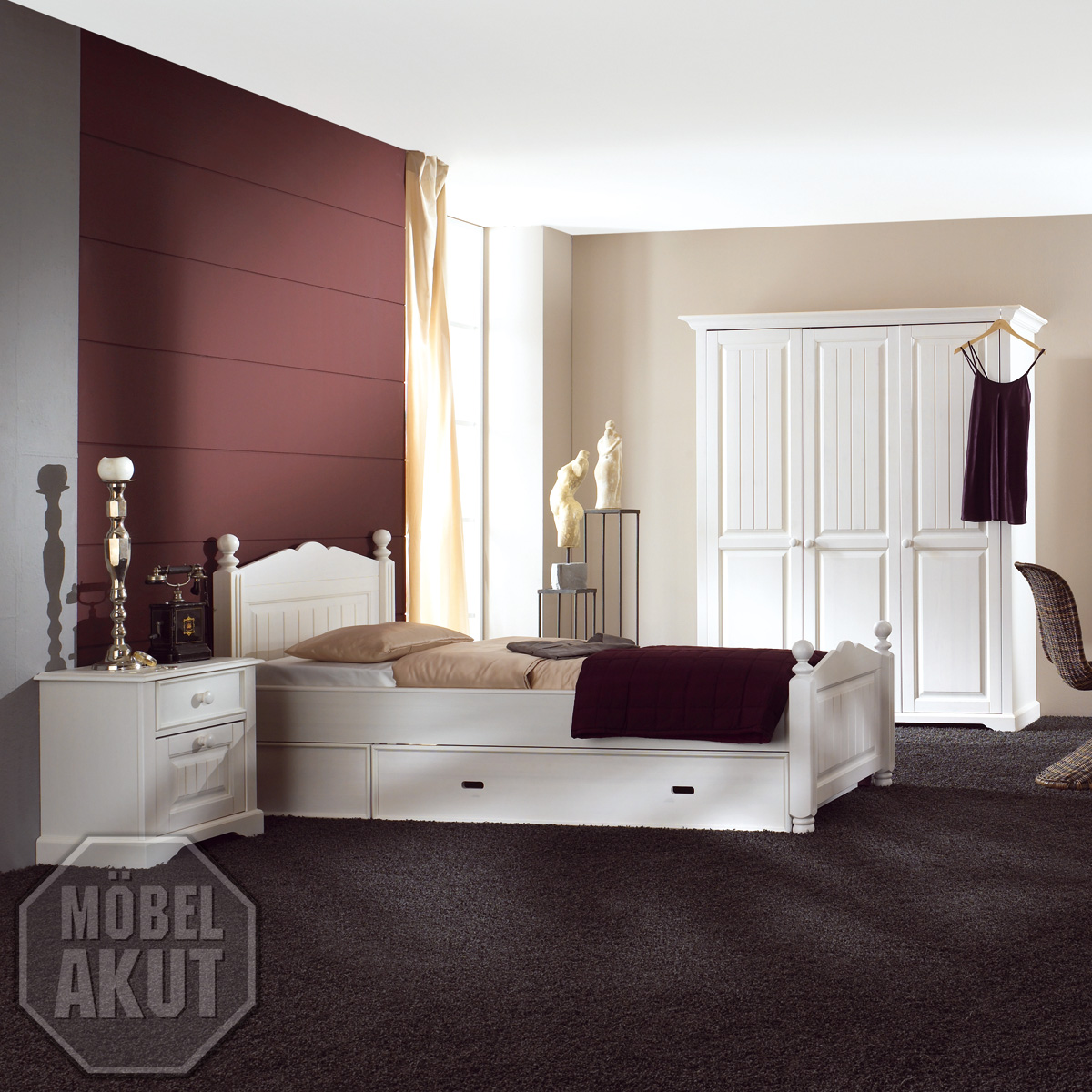 3 tlg jugendzimmer luzi kiefer massiv wei neu. Black Bedroom Furniture Sets. Home Design Ideas