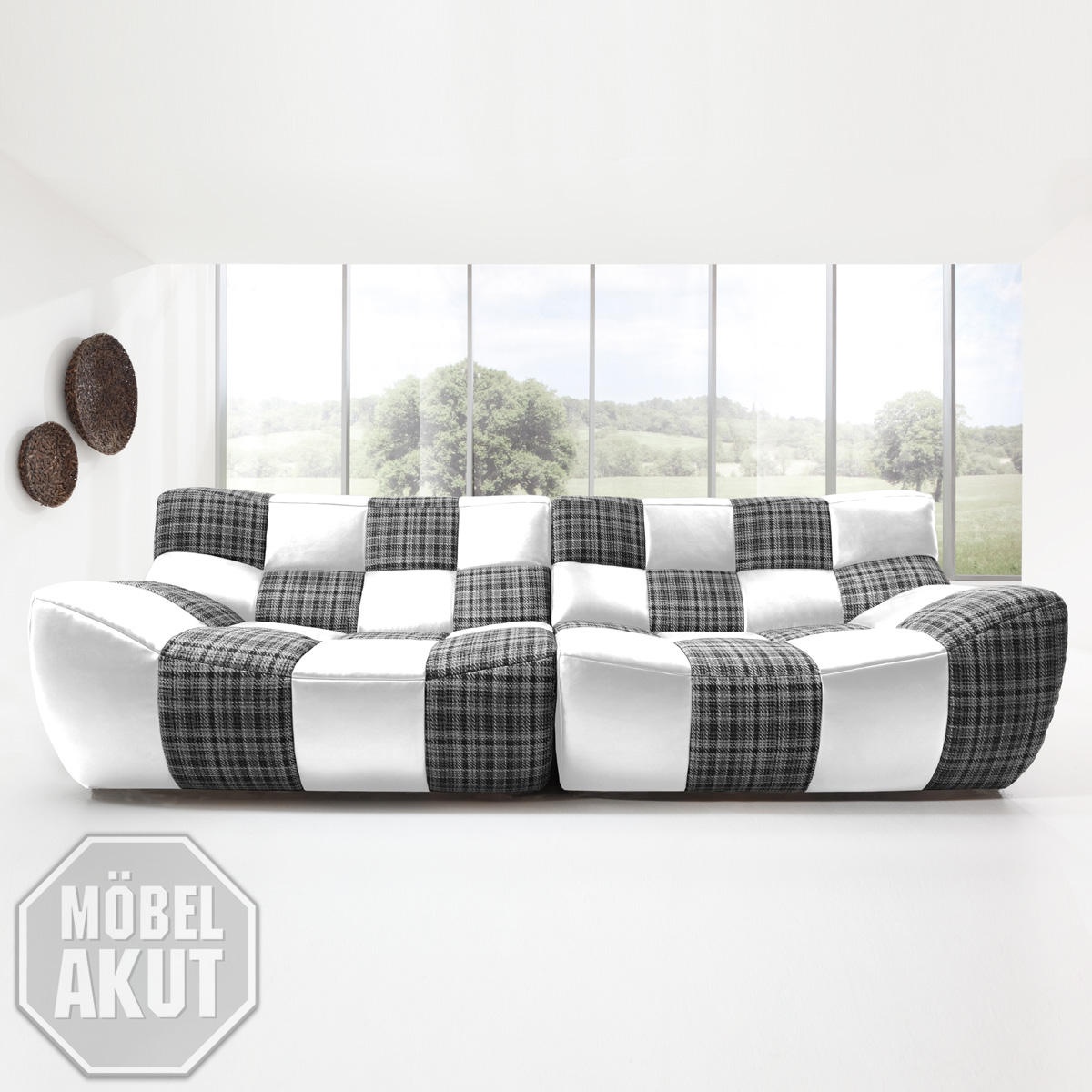 sofa bronx megasofa bigsofa in wei schwarz gelb neu ebay. Black Bedroom Furniture Sets. Home Design Ideas
