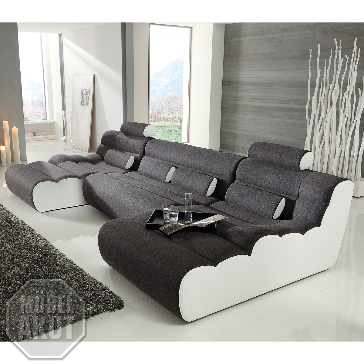 sofa elements bigsofa megasofa wohnlandschaft ottomane anthrazit wei neu ebay. Black Bedroom Furniture Sets. Home Design Ideas