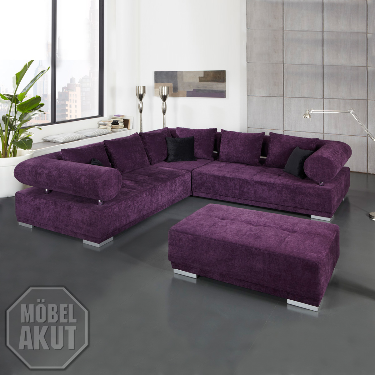 wohnlandschaft frog sofa megasofa bigsofa in lila. Black Bedroom Furniture Sets. Home Design Ideas