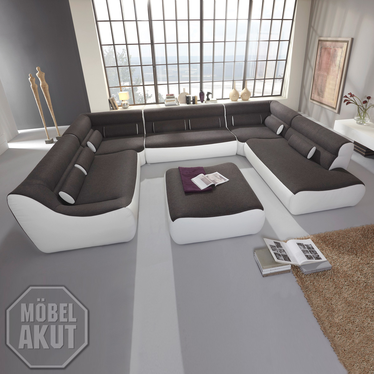 wohnlandschaft devil sofa ecksofa bigsofa megasofa in anthrazit wei neu ebay. Black Bedroom Furniture Sets. Home Design Ideas
