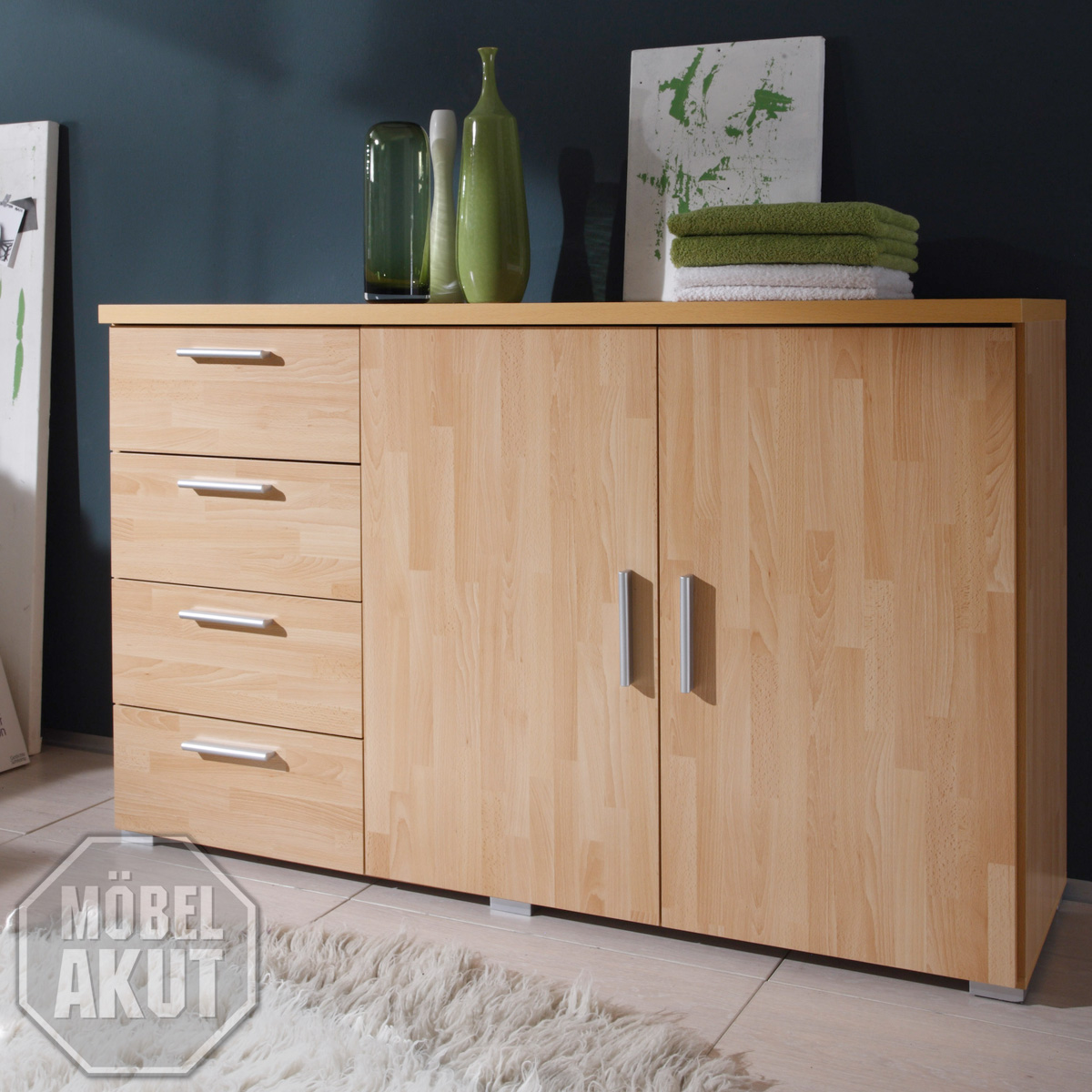 kommode sidra sideboard buche parkett neu ebay. Black Bedroom Furniture Sets. Home Design Ideas