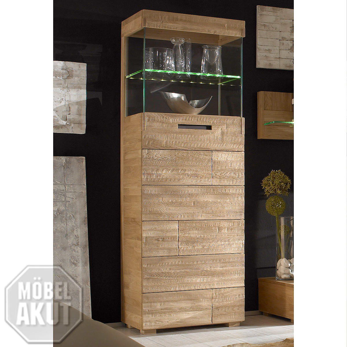 stauraumelement amor schrank vitrine fronten in eiche spaltholz massiv neu ebay. Black Bedroom Furniture Sets. Home Design Ideas