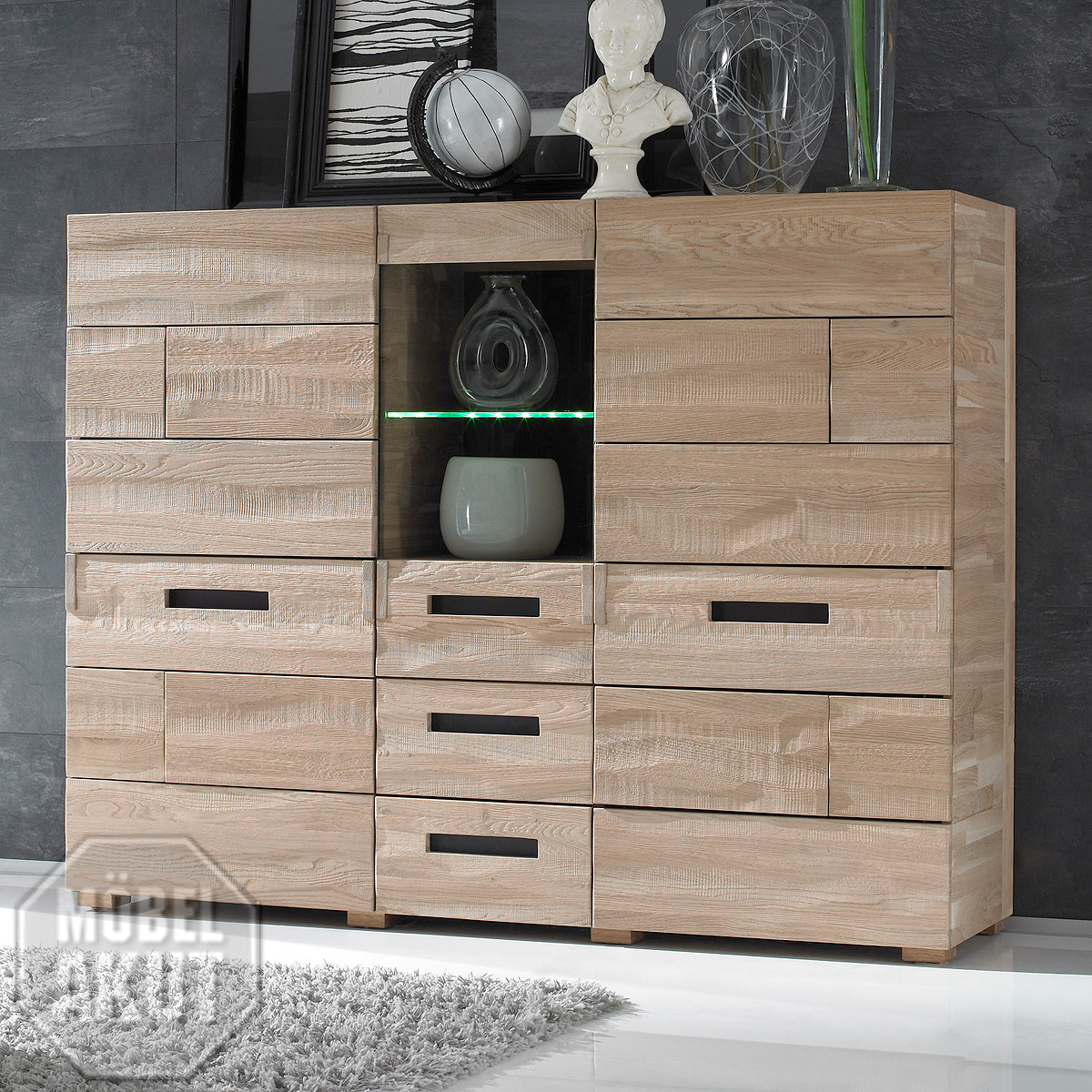 highboard amor kommode sideboard fronten in eiche spaltholz massiv neu ebay. Black Bedroom Furniture Sets. Home Design Ideas