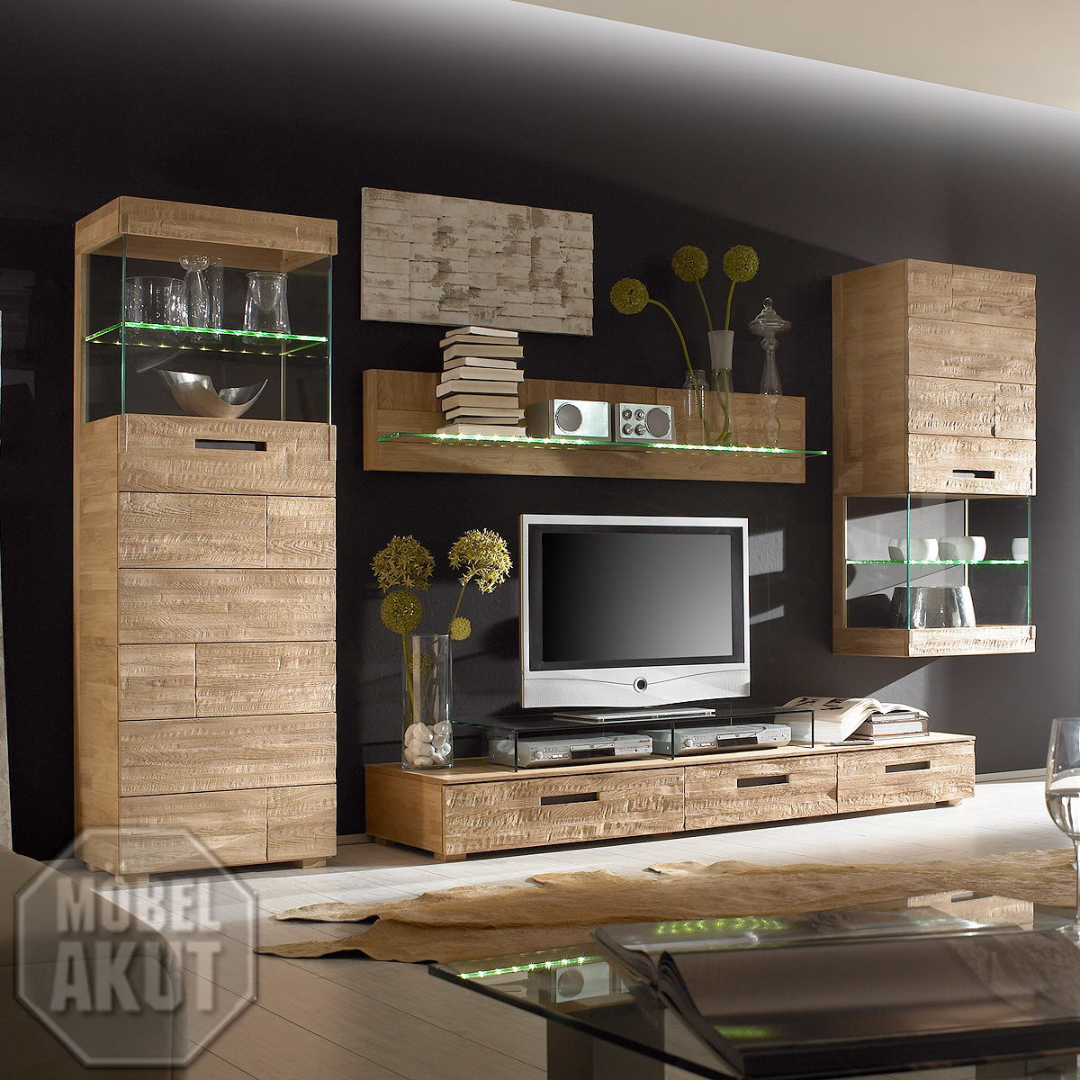 wohnwand ii amor anbauwand schrank fronten in eiche spaltholz massiv neu ebay. Black Bedroom Furniture Sets. Home Design Ideas